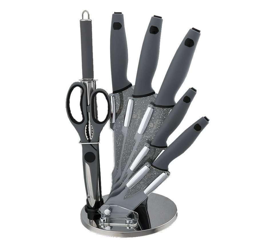 Набор ножей на подставке Granit Diamond Line gray 8 предметов Berlinger Haus BH-2116