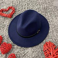 Шляпа Федора унисекс с устойчивыми полями ММ темно синяя, фото 1