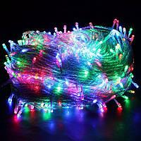 Светодиодная гирлянда нить 300 LED (цвет - мультиколор) прозрачный провод 20м