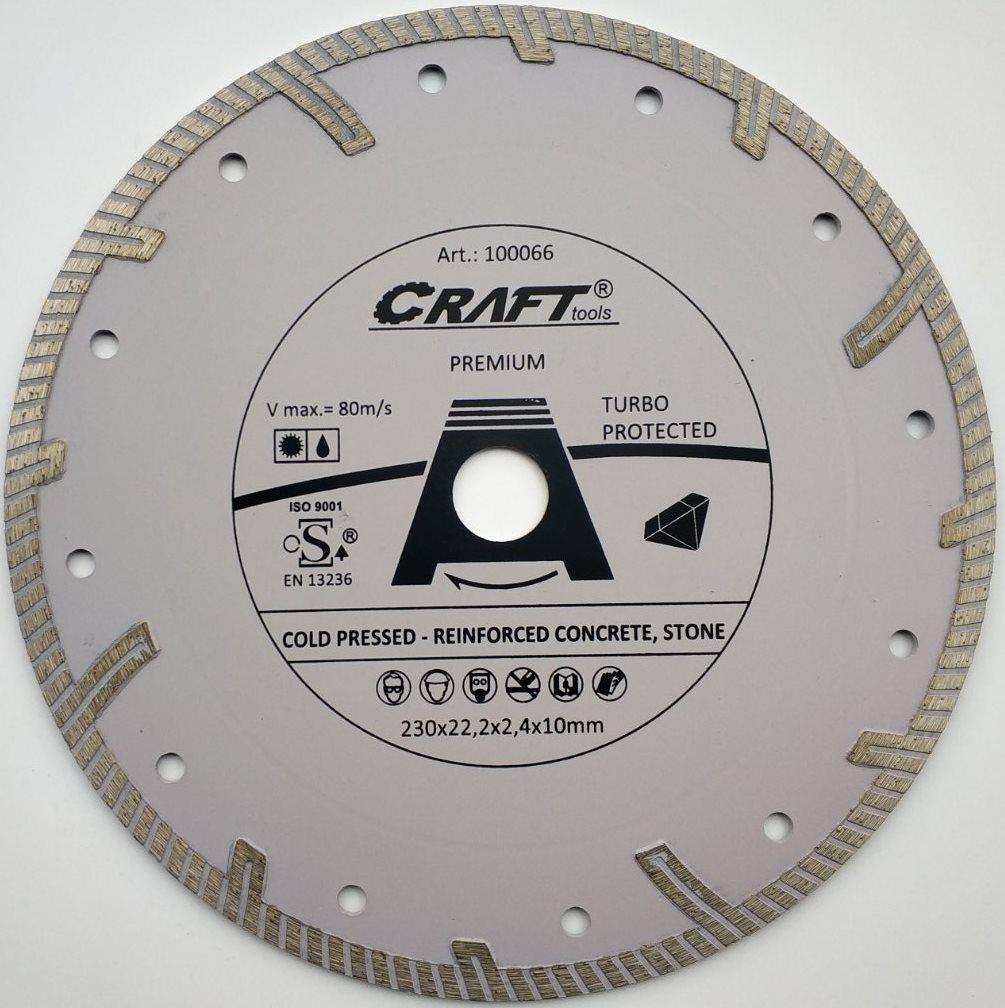 066 Диск Craft відрізний алмазний turbo protekted 230*22,2*2,4*10мм,
