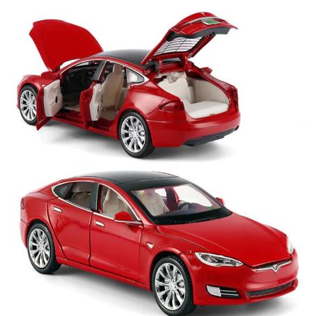 Модель автомобиля Tesla X90 1:32. Металлическая машинка, инерционная машинка Тесла Красная