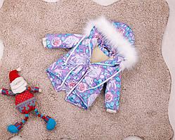 Дитяча зимова парку з принтом єдинорогів для дівчаток 80-146 р