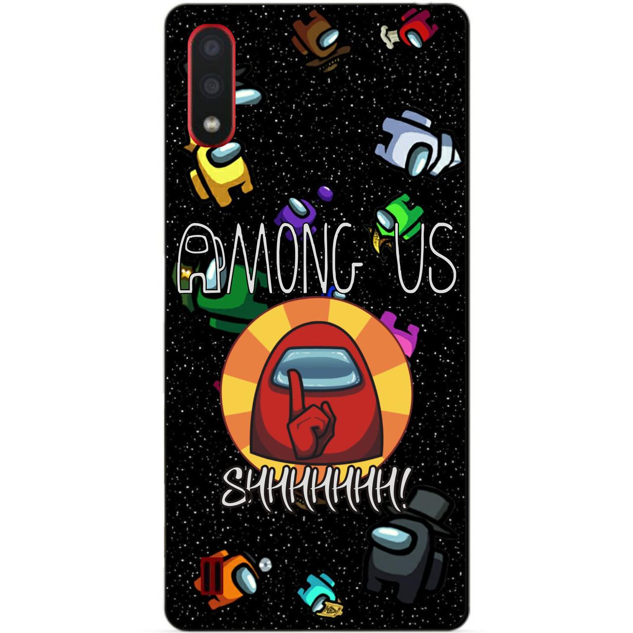 Силиконовый бампер чехол для Samsung A01 Galaxy A015f с рисунком Among Us