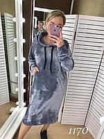 """Платье женское велюр Батал (52-60) """"Gabriela"""" LM-1037-1046, фото 1"""