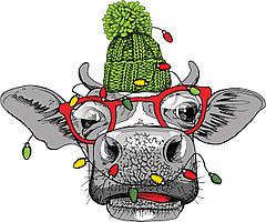 Новогодняя наклейка Бык с гирляндой (декор окон витрин Символ года 2021 Год быка бычок) 350*290 мм