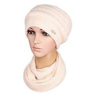 Комплект шапка и шарф вязаный женский Darina ангора бежевого цвета, фото 1