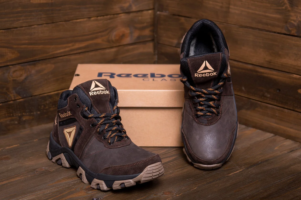 Ботинки зимние мужские кожаные Reebok Crossfit Brown (реплика)