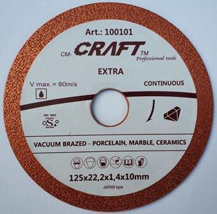 101 Диск алмазний Craft вакумний  125*22.2*1.4*36/6мм мокре сухе різання  керамограніту, кахелю, металу