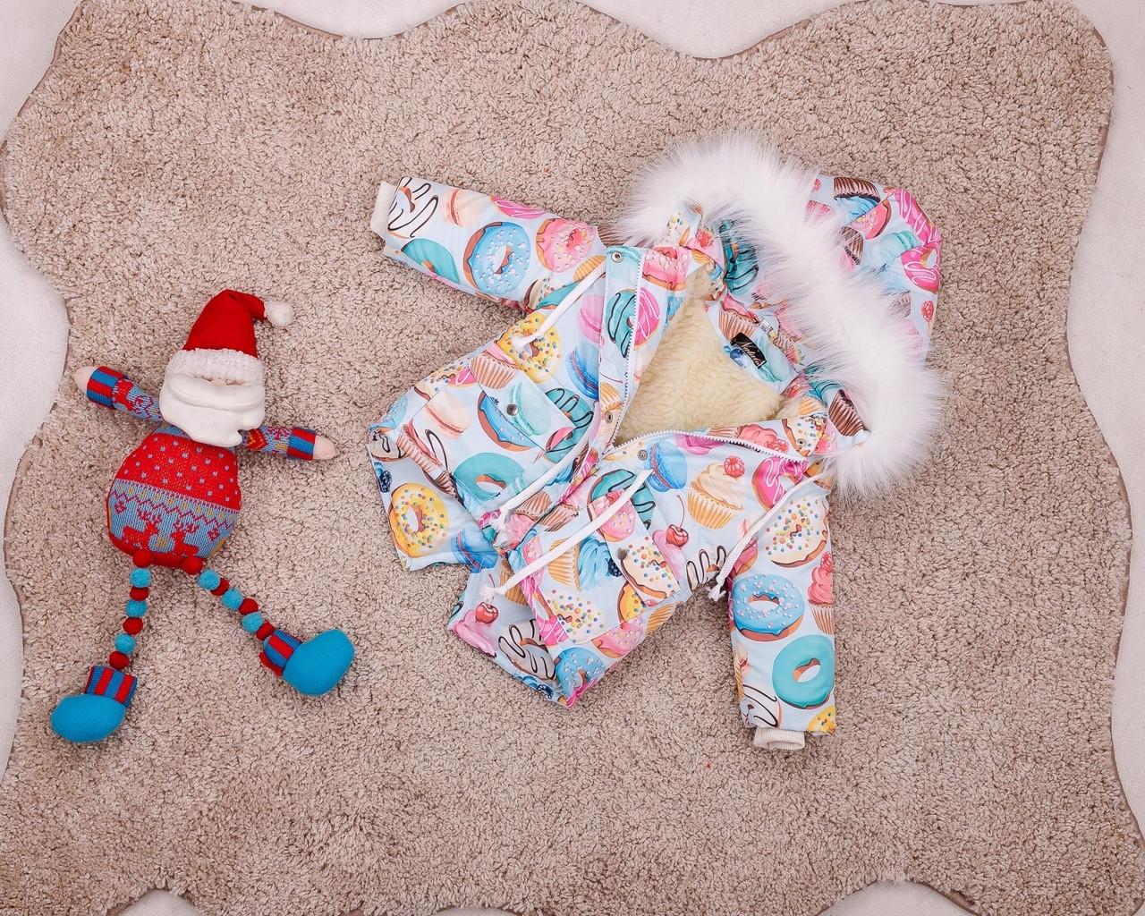 Детская зимняя куртка-парка с принтом пончиков для девочек 80-146 р