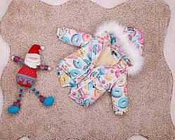 Дитяча зимова куртка-парку з принтом пончиків для дівчаток 80-146 р