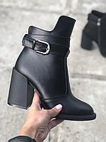 Демисезонные женские ботинки кожаные на высоком каблуке классические повседневные 37 размер M.KraFVT 8065