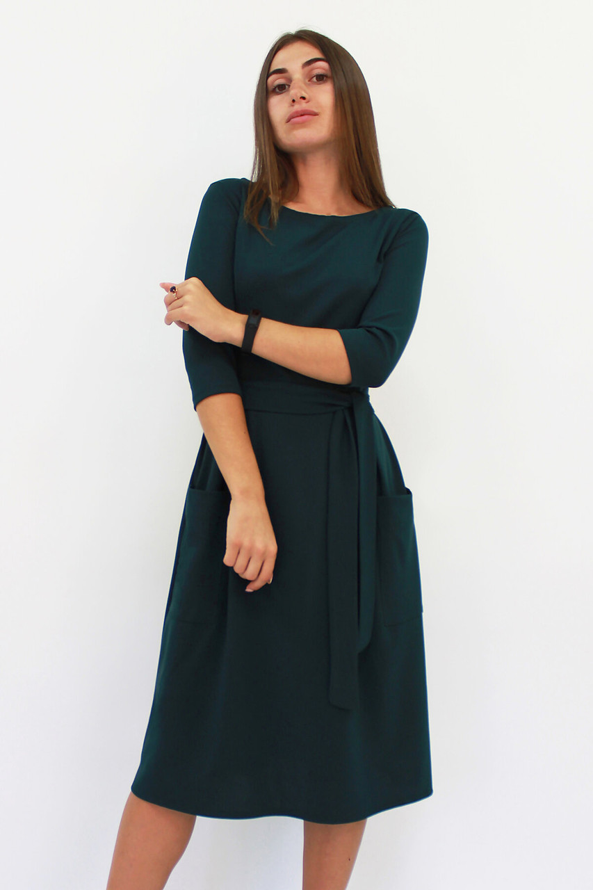 Классическое темно-зеленое платье-миди Tirend, изумруд