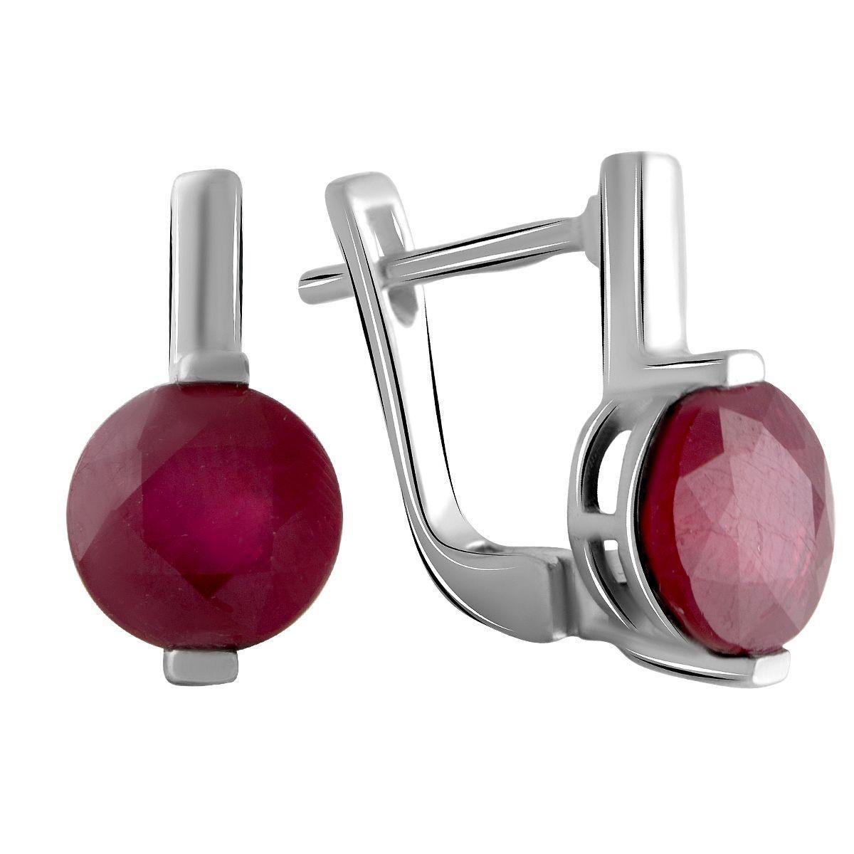 Серебряные серьги pSilverAlex с натуральным рубином 2.992ct (2058076)