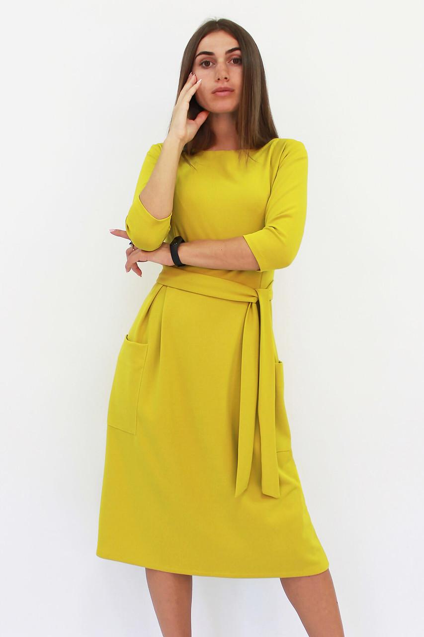 Классическое горчичное платье-миди Tirend, горчица