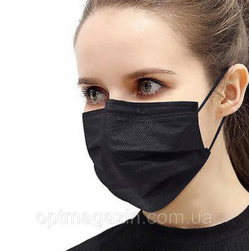 Медичні маски чорні СМС, з зажимом для носа (50 шт)