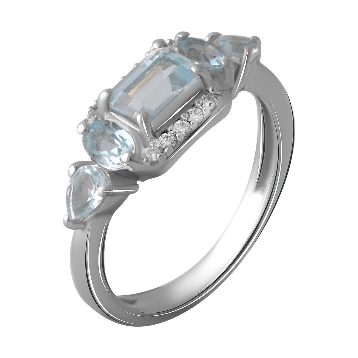 Серебряное кольцо pSilverAlex с натуральным топазом 1.68ct (2058977) 18 размер