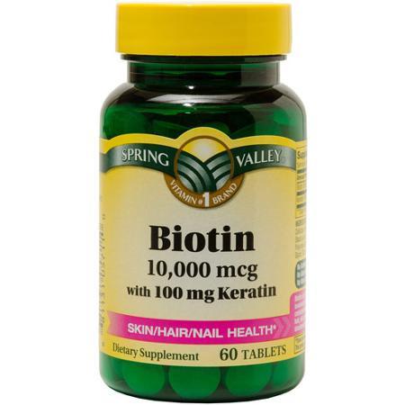 Биотин, 10000 мкг с кератином 100 мг, 60 штук, Spring Valley. Сделано в США.