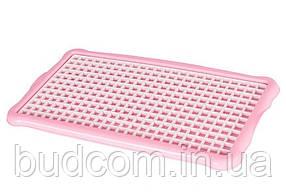 Сушилка-поднос для посуды, стаканов, фруктов пластиковая (поднос розовый, решетка белая  ) Hobby Life