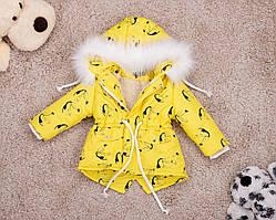 Дитяча зимова парку з принтом пеліканів для дівчаток 80-146 р