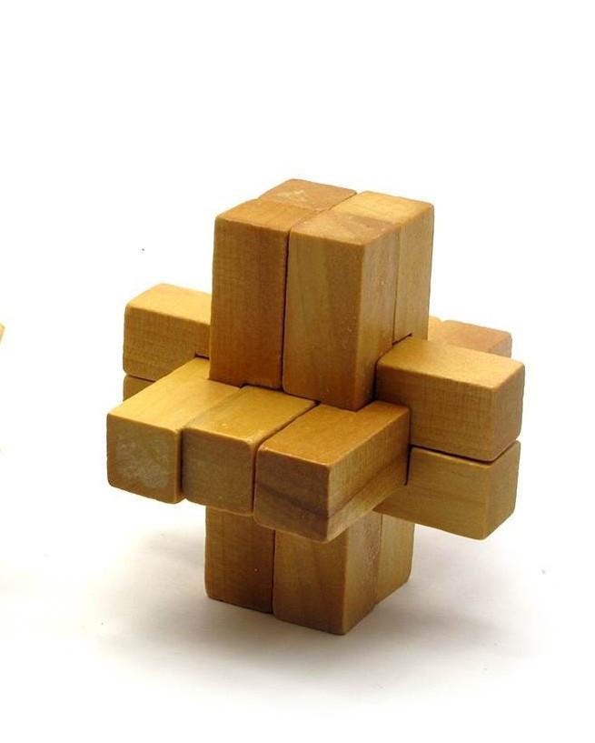 Деревянная головоломка пазл Крестообразная 2х3х4 (7,5х7,5х7,5 см)
