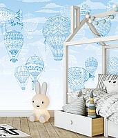 Дизайнерские фотообои 3Д в детскую комнату Воздушные шары и Аэростаты 155 см х 250 см