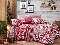 Новогоднее постельное белье ранфорс TM Belizza евро размер Deer bordo