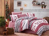 Новогоднее постельное белье ранфорс TM Belizza евро размер Snow grey