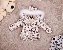 Дитяча зимова парку з мопсами для дівчаток 80-146 р
