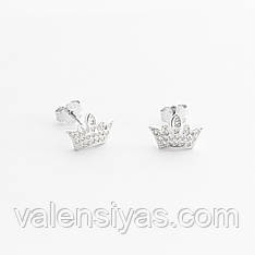 Серебряные серьги Короны