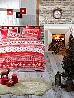 Новогоднее постельное белье ранфорс TM Belizza евро размер Winter red