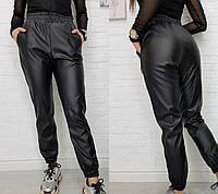 """Женские кожаные штаны на резинке """"Маркус""""  Батал"""