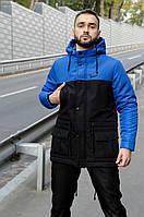 Зимняя мужская парка на флисе, сине-черный теплая куртка