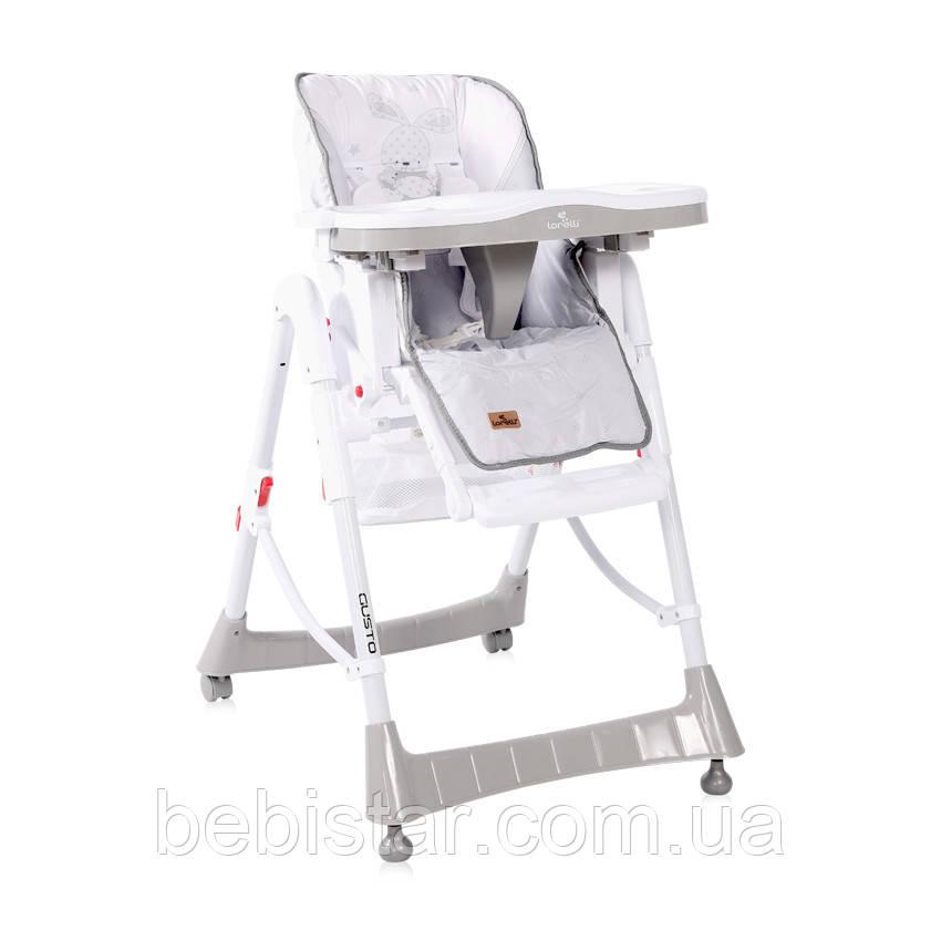 Стул для кормления Lorelli Gusto с регулировкой сидения спинки подножки столика с 6 месяцев до 3-х лет Светло-серый