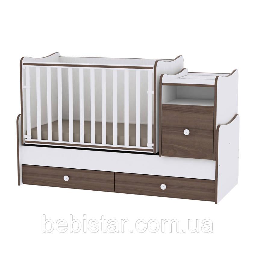 Детская кровать-трансформер подростковая кровать белый орех  6 в 1 с рождения до 14лет Trend White Walnut
