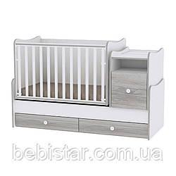 Детская кровать-трансформер подростковая кровать белая с серым 6 в 1 рождения и до 14 лет Trend White Artwood