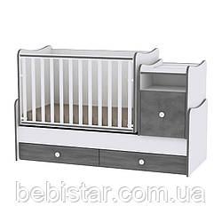 Детская кровать-трансформер подростковая кровать темно-серая 6в1 с рождения до 14 лет Trend White Vintage Gray