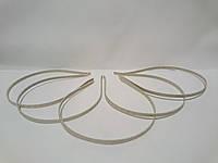 Обруч для волос (металлический) бежевая лента