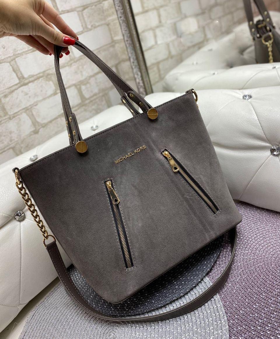 Большая замшевая женская сумка каркасная городская стильная коричнево-серая натуральная замша+кожзам