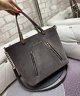Большая замшевая женская сумка каркасная городская стильная коричнево-серая натуральная замша+кожзам, фото 1
