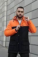 Зимняя мужская парка на флисе, оранжево-черная теплая куртка