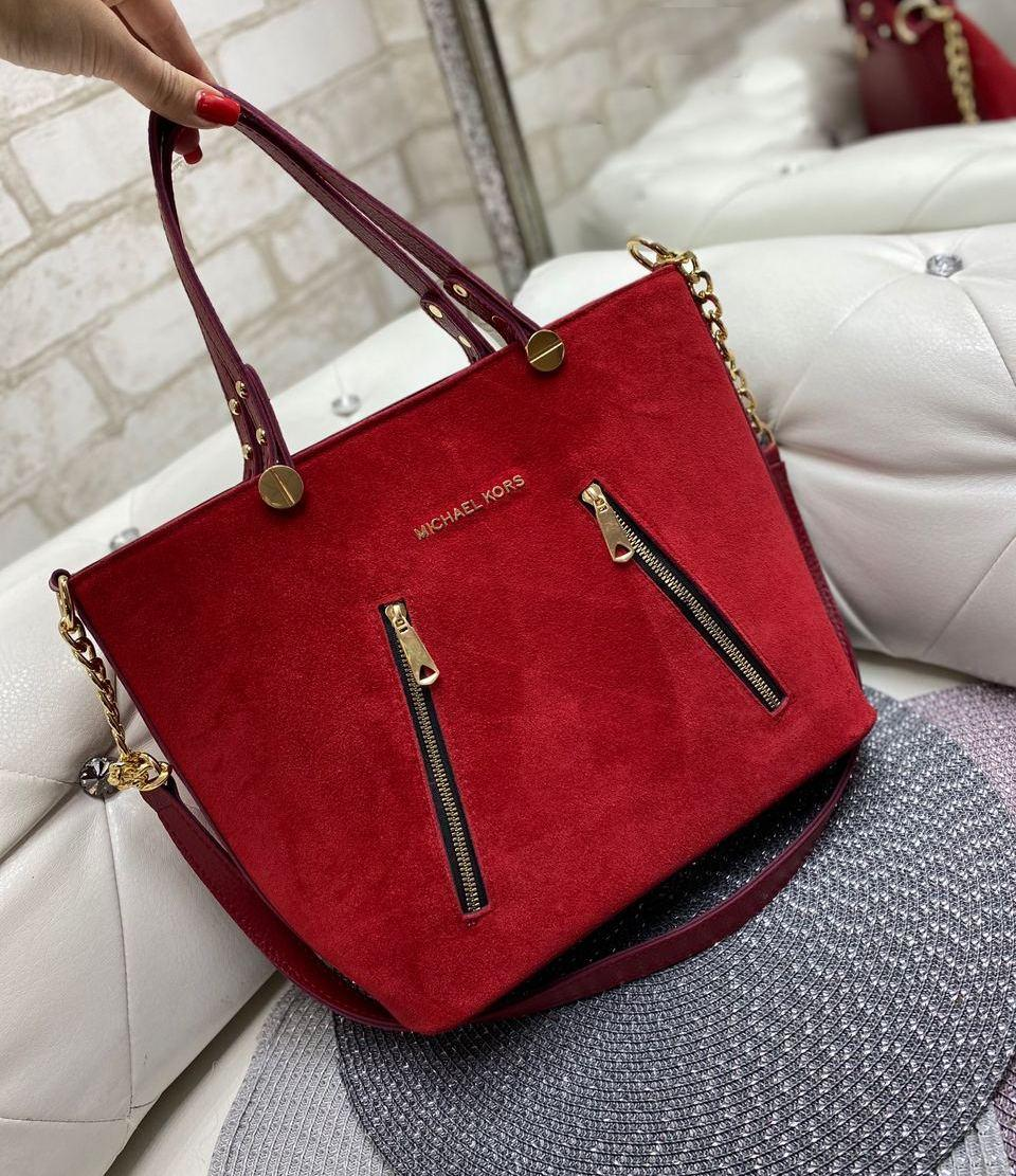 Большая замшевая женская сумка каркасная городская модная красная натуральная замша+кожзам