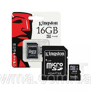 Карта памяти MicroSD +SD Adapter « Kingston » — 16GB Class 10 — Original