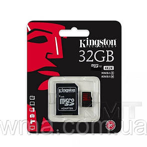 Карта памяти MicroSD +SD Adapter « Kingston » — 32GB Class 10 — Original