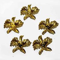 """Заготовка для декора """"орхидея"""" золото, пластик, 5*5,5 см"""