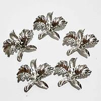 """Заготовка для декора """"орхидея"""" серебро, пластик, 5*5,5 см"""