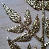 Ветка новогодняя золотая с листьями (7 пятилистиков), фото 2