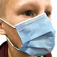 Детская медицинская маска паянная трехслойная с зажимом для носа