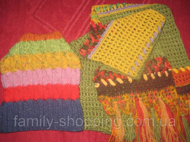 Вязаные шапка и шарф ручной работы