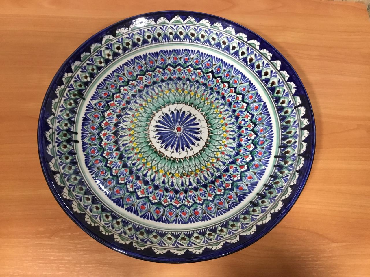 Керамическое расписное блюдо ляган в диаметре 420мм