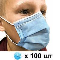 Детская медицинская маска паянная трехслойная с зажимом для носа (100 штук)